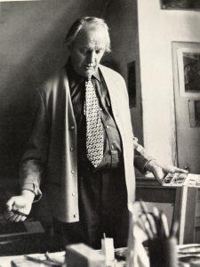 Heinz Rose in seinem Atelier, dem heutigen studioRose in Schondorf